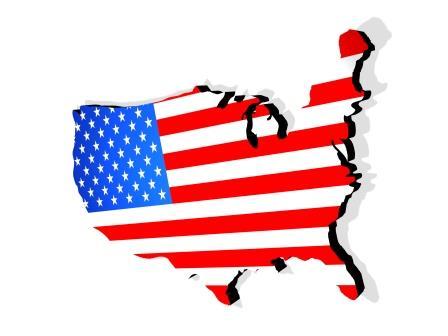 Mapa con bandera de Estados Unidos